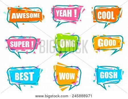 poster of Trendy Speech Bubble Colorful Set. Most Commonly Used Acronyms And Replica Collection. Awesome, Yeah