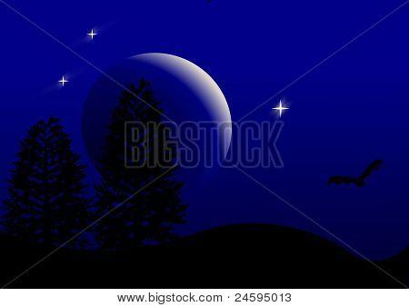 Deep Bat Moon Background