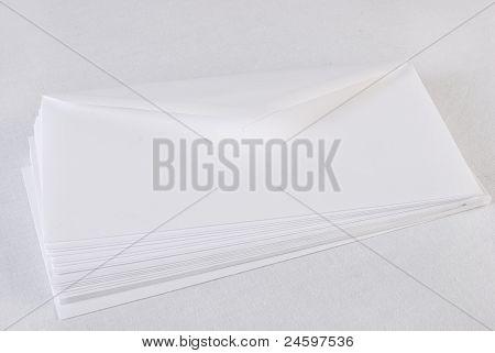 Stack Of Envelopes/letters On White Background.