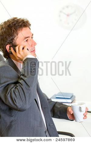 Serious Businessman In Office Talking Mobile