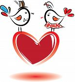 Birds With Love. Valentine Day.vector Illustration