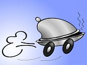 image of meals wheels  - Funny cartoon of a driving bell with wheels - JPG