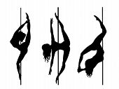 Set Of Vector Silhouette Of Girl And Pole On A White Background. Pole Dance Illustration For Fitness poster