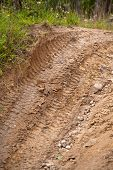 pic of off_road  - Tire tracks prints in sand on a 4x4 track - JPG