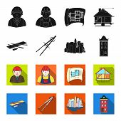 Drawing Accessories, Metropolis, House Model. Architecture Set Collection Icons In Black, Flet Style poster