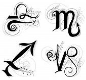 Letter Horoscope, Zodiac Or Astrology Symbol Are Libra Scorpio Sagittarius And Capricorn  Black And  poster