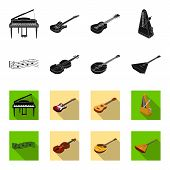 Musical Instrument Black, Flet Icons In Set Collection For Design. String And Wind Instrument Isomet poster