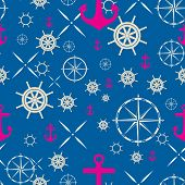 Seamless Pattern With Sea Subject. Images Of An Anchor, A Steering Wheel And A Wind Rose On A Blue B poster