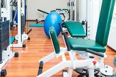 Close Up Equipment For Rehabilitation In Interior Of Physiotherapy Clinic. Physical Therapy Center.  poster