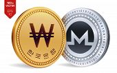 Monero. Won. 3d Isometric Physical Coins. Digital Currency. Korea Won Coin. Cryptocurrency. Golden A poster