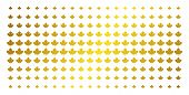Maple Leaf Icon Gold Colored Halftone Pattern. Vector Maple Leaf Objects Are Organized Into Halftone poster