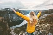 Journey In Mountains Woman Traveling Happy Raised Hands Enjoying Landscape Adventure Lifestyle Journ poster