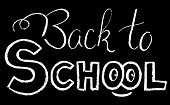 Back To School Lettering By Chalk. Back To School Black And White Vector Illustration. White Chalk B poster