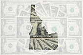 Outline Map Of Idaho With Transparent American Dollar Banknotes In Background