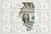 Outline Map Of Illinois With Transparent American Dollar Banknotes In Background