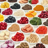 Healthy food nutrition for good health with fresh fruit, vegetables, fish, cereals, seeds, herbs and poster