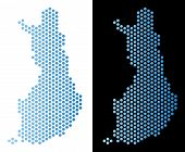Hex Tile Finland Map. Vector Territory Scheme In Light Blue Color With Horizontal Gradient On White  poster