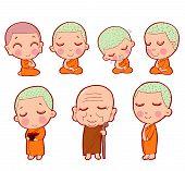 Buddhist Monks Sitting In Meditation. Buddhist Monk Character, Buddhist Monk Cartoon, Monk Set, Chil poster