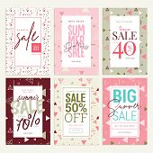Set Of Mobile Ads And Posters. Summer Sale Banners. Vector Illustrations Concept For Online Shopping poster