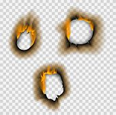 Collection Of Burnt Faded Holes Piece Burned Paper Fire Realistic Flame Isolated Vector Illustration poster