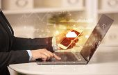 Business woman in homey environment using laptop with cloud technology concept poster