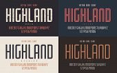 Highland Vector Condensed Bold Inline Regular And Light Retro Typeface, Uppercase Letters And Number poster