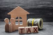 Wooden Figures Of The Family Stand Near A Wooden House And Money. Property Tax. Payment Of Taxes To  poster