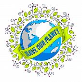Save The Earth, Protect Our Planet, Eco Ecology, Climate Changes, Earth Day April 22, Planet With Ri poster