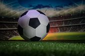 Traditional Soccer Ball On Soccer Field. Close Up View Of Soccer Ball (football) On Green Grass With poster