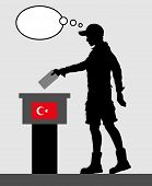 Turkish Voter Young Man Voting For Election In Turkey With Thought Bubble. All The Silhouette Object poster