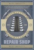 Repair Shop Vintage Banner For Car Service Promo Template. Spanner Or Wrench With Crossed Hammer At  poster