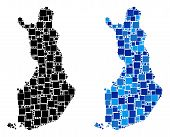 Dotted Finland Map Versions. Abstract Geographic Map Variant Designed With Blue Color Tints. Vector  poster