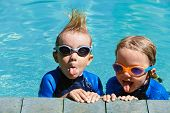 Happy Children In Wetsuits And Goggles Learn To Swim, Have Fun At Poolside In Outdoor Pool. Healthy  poster