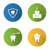 Постер, плакат: Dentistry Flat Design Long Shadow Glyph Icons Set Stomatology Teeth Protection Tooth Extraction