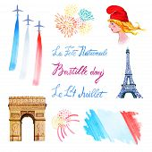 Bastille Day Set. Hand Drawn Watercolor Illustration Of Marianne, Eiffel Tower, Triumphal Arch, Flag poster