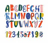 Bright Colored Hand Drawn Latin Font Or English Alphabet For Kids Decorated With Scribble. Funny Let poster