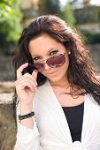 image of hottie  - Gorgeous brunette in sunglasses seductive summer hottie - JPG