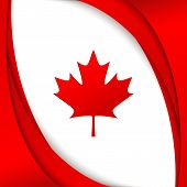 Canada Flag National Patriotic Symbol Of Canada Wavy Red Satin Lines And A Maple Leaf On A White Bac poster