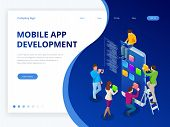 Isometric Web Banner Mobile App Development Concept. Mobile Technology Operating System Creative Pro poster