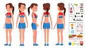 Athletics Girl Player Female Vector. Athletic Sport Competition. Sports Equipment. Sprinter. Sprint  poster