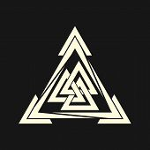 Sacred Geometry. Graphic Linear Triangle. The Crossed Triangles. Sacred Symbol Of Vikings. Ancient S poster