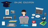 Online Education - Girl In Headphones At The Computer - Academic Hat, Tablet, Printer, Laptop - Art  poster