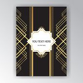 Modern Golden Black Page Background For Print And Web Art Deco / Art Novo Page Template. Line Art Ge poster