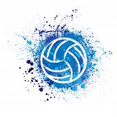 White Grunge Volleyball Ball With Blue Ink Blots And Splashes Isolated On White Background poster