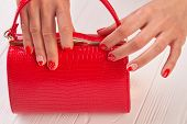 Red Manicure And Red Clutch. Female Hands With Beautiful Manicure Painted With Red Hearts And Dots H poster