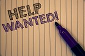 Conceptual Hand Writing Showing Help Wanted Motivational Call. Business Photo Showcasing Employee Ne poster