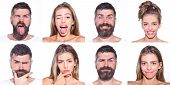 Emoji Set Of Woman And Bearded Man. Collage Of Emotions. Different Emotions. Feeling And Emotions. F poster