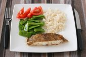 picture of flounder  - Fried flounder with boiled rice and vegetables - JPG
