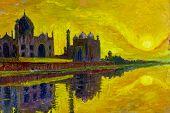 Oil Painting On Canvas Colorful Landscape Illustration. World Famous Landmark Series: Taj Mahal The  poster