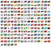 All National World Waving Flags With Names - High Quality Vector Flag Isolated On White Background poster